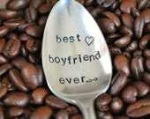 BEST BOYFRIEND EVER - Hand Stamped Vintage Coffee Spoon for your Coffee Lovin' Boyfriend this Valentine's Day
