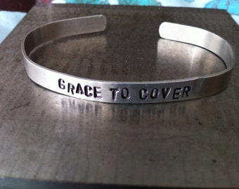 Grace to Cover - Hand Stamped - 8mm Band