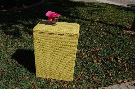 Yellow Shabby Chic Wicker Laundry Hamper Cottage By