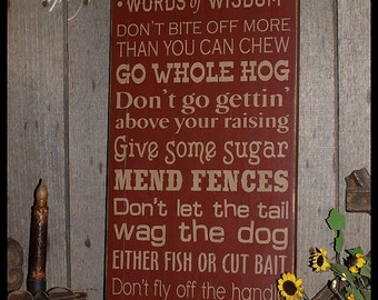 Southern Words Of Wisdom Wood Wall Sign, Typography, Word Art, Subway Art, Handmade
