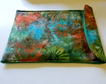 Green and Orange Floral Batik Netbook Sleeve