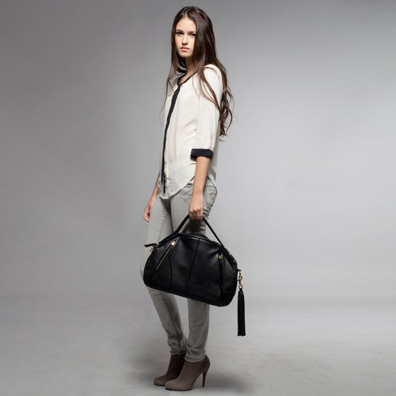 Leather Handbag - OPELLE Baby Botanist Bag - in Pebbled Leather