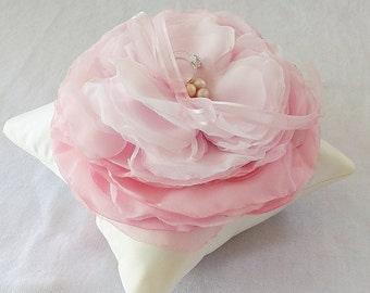Ivory Ring Bearer Pillow with Oversized Pink Chiffon Ombre Flower