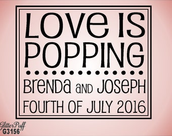 Love is Popping Rubber Stamp Custom 3 x 3 - Popcorn Bag Sack Weddings DIY Wedding - (g3156)