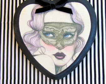 Dentelles Masque Fabric Art Print on Heart Shaped Wooden Plaque