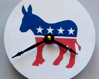 Political clock. Small clock. Small wall clock. Clock for Democrats. Recycled CD. Vinyl clock. Patriotic clock.