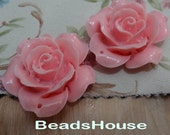 20%off 657-00-CA 2pcs (35mm) Pretty Rose Cabochon With  - Lt-Pink
