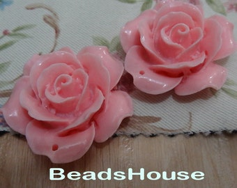 4 pcs Pretty Rose Cabochon With 34mm (06570) Lt-Pink