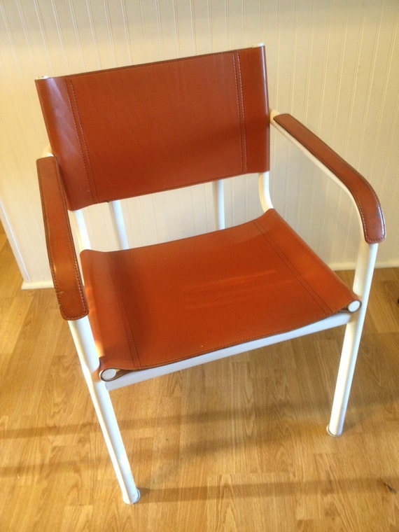 Vintage Mid Century Modern Leather Sling Chair by modernlogic