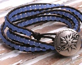 Leather 3X Wrap Leather Blue Sapphire Glass Earthy Rustic Boho Southwestern Cowgirl Bracelet - MissieRabdau