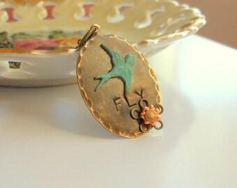 FLY-Hand Stamped Necklace Bird Necklace Vintaj Jewelry