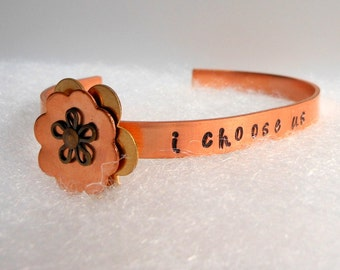 Copper Stamped Bracelet,Copper Flower Bracelet,Engagement Gift-Copper Jewelry