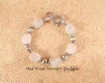 Chunky Western Style Cowgirl Bracelet - Rose Quartz