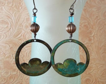 Brass Dangle Earrings - Virdigris Finish with Corrugated Copper Beads and Aqua Glass Beads