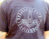 Thor's Hammer T-Shirt, Viking, Screen Printed Size Large