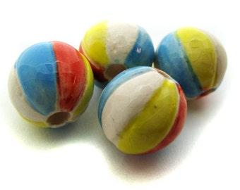 10 Beach Ball Beads - Medium (10mm)
