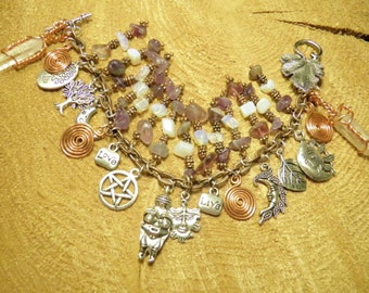 Goddess Bracelet with Copper Spiral of Life & Venus of Willendorf, Crystal Points, Opal, Amethyst, Wiccan Jewelry Pagan Steampunk Jewelry #4