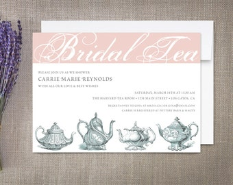 Bridal Tea Invitations, Vintage Teapots
