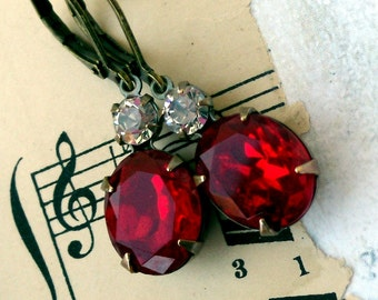 Deep Ruby Red with a Twinkle, Vintage 1960s Red Rhinestone and Crystal clear Swarovski Duo Earrings by Hollywood Hillbilly