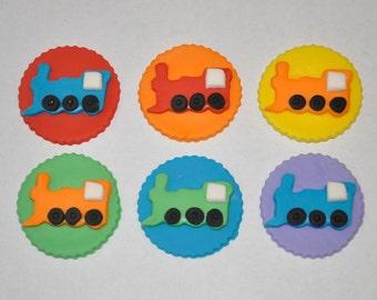 Train Fondant Cupcake or Cookie Toppers- Edible- Color Customizable- 1 Dozen