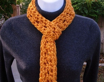 SUMMER SCARF Infinity Loop, Solid Golden Orange Soft Lightweight Skinny Small Crochet Circle Endless Cowl, Necklace..Ready to Ship in 2 Days