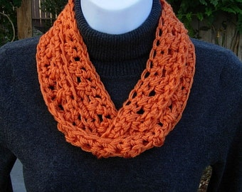 SUMMER SCARF Infinity Loop, Solid Bright Tangerine Orange, Soft Lightweight Small Skinny Cowl, Crochet Necklace, Neck Tie..Ready to Ship