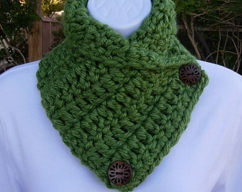 NECK WARMER SCARF Cowl Solid Green, Wood Buttons, 100% Soft Acrylic Handmade Crochet Knit Winter..Ready to Ship in 2 Days