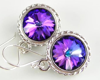Iris Purple Earrings Sterling Silver Swarovski Blue Pink Purple Crystal Earrings Plum Violet Amethyst Drop Earrings