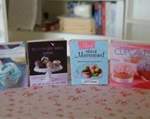 BAKING COOKBOOKS - Bakery Cupcakes Macarons Muffins - Dollhouse Miniature 1/12 Scale