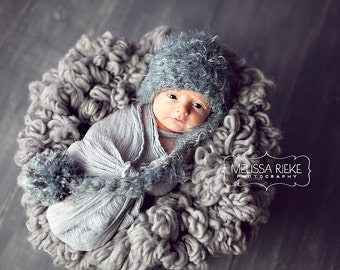 SET Gray Newborn Pixie Elf Hat and Cheesecloth Wrap Photography Prop