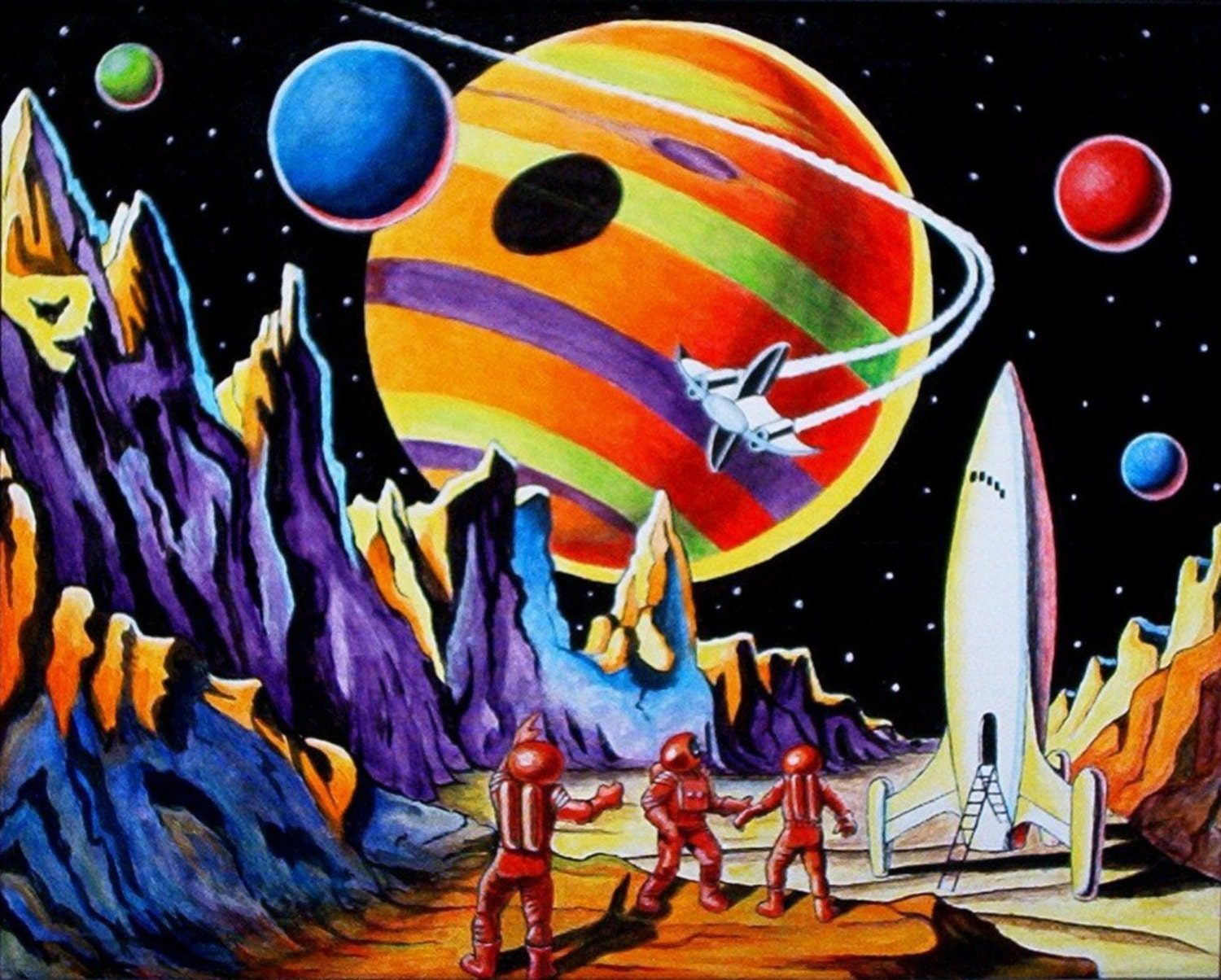 Vintage space art pictures to pin on pinterest pinsdaddy for Retro outer space