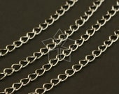 CH-083-OR / 3 meter - Extender Chain (for thin necklace), Silver Plated over Brass / 2.7mm