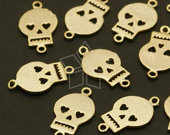 PD-504-GD / 4 Pcs - Heart Skull Connector, Gold Plated over Brass / 8mm x 13mm