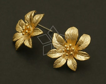 SI-525-MG / 2 Pcs - Full Bloom Earrings, Matte Gold Plated, with .925 Sterling Silver Post / 17mm x 17mm