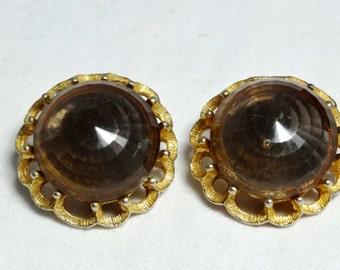 Acrylic Smokey Quartz Bauble Clip-on earrnigs Apparel & Accessories Jewelry Vintage Jewelry Earrings Clip On Earrings
