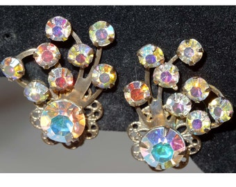1940's Aurora Borealis Gold Plated clip-on earrings Apparel & Accessories Jewelry Vintage Jewelry Earrings Clip On Earrings Rhinestone