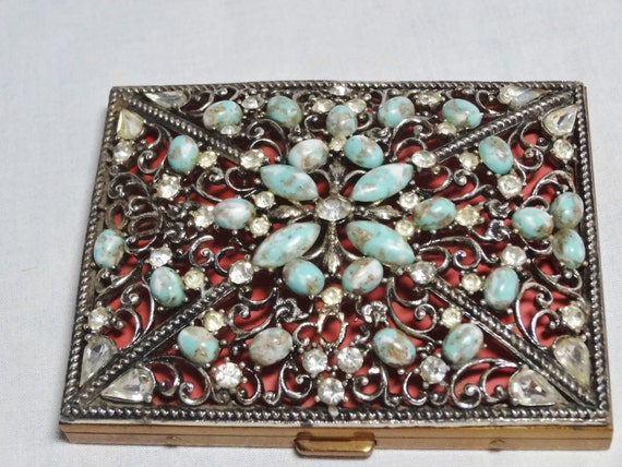 Compact or Cigarette Case Faux Turquoise and Rhinestones Cigarette Cases Cigarette Holders