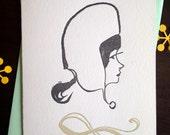 Fancy Lady Illustrated Series No. 3 - Hello Lisa Letterpress Blank Card