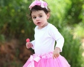 1st birthday outfit pink tutu skirt and matching headband - photo prop  vintage glamour wedding