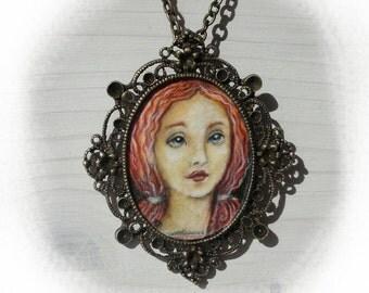 SALE___WOMAN No.2..original painting necklace.... Handpainted Vintage Style Frame ..victorian..  black..