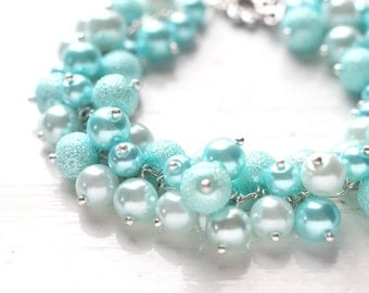 Light Blue Winter Wedding Bridesmaid Jewelry Pearl Cluster Bracelet - Water Drops