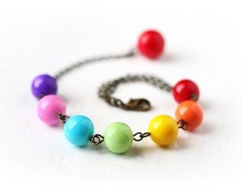 Colorful Rainbow Bracelet Made From Bright Glass Pearls, Adjustable Length Antique Brass Summer Fashion for Children and Teenagers