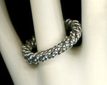 Twisted Wire Ring Sterling Silver Metal Metalwork Wirework Jewelry Oxidized Silver Ring