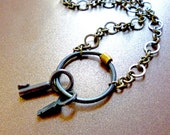 Romantically Rustic Artisan Metalwork Key Ring Necklace