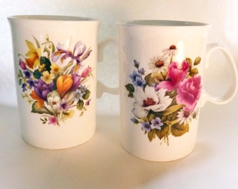 SALE Pair of Vintage Royal Court Spring and Summer Mugs