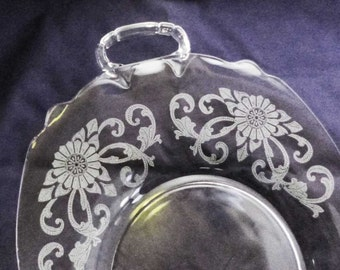 Vintage Etched Clear Glass Heisey Old Colony Empress Serving Tray