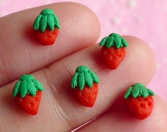 Miniature Strawberry (5pcs) Kawaii Dollhouse Fruit Mini Fruit Miniature Sweets Decoden Cell Phone Deco Fake Cupcake Topper Nail Art NAC001