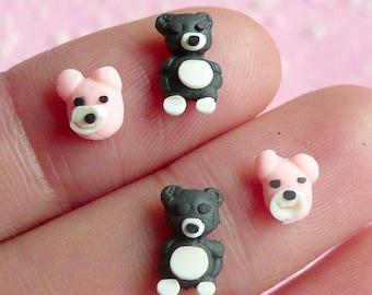 Mini Animal Bear and Dog (4 pcs) Kawaii Dollhouse Mini Miniature Sweets Deco Cell Phone Decoden Fake Cupcake Topper Nail Art NAC003
