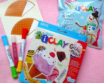Gelato Maker Kit w/ White Soft Clay, Redberry Deco Sauce, Color Makers, Paper Waffle Cone - Fake Miniature Sweets Ice Cream Making