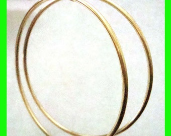 "65mm  2 1/2"" 14k Gold Filled Eurowire round hoop Earring Round Circle 2mm tubing earrings GE36"